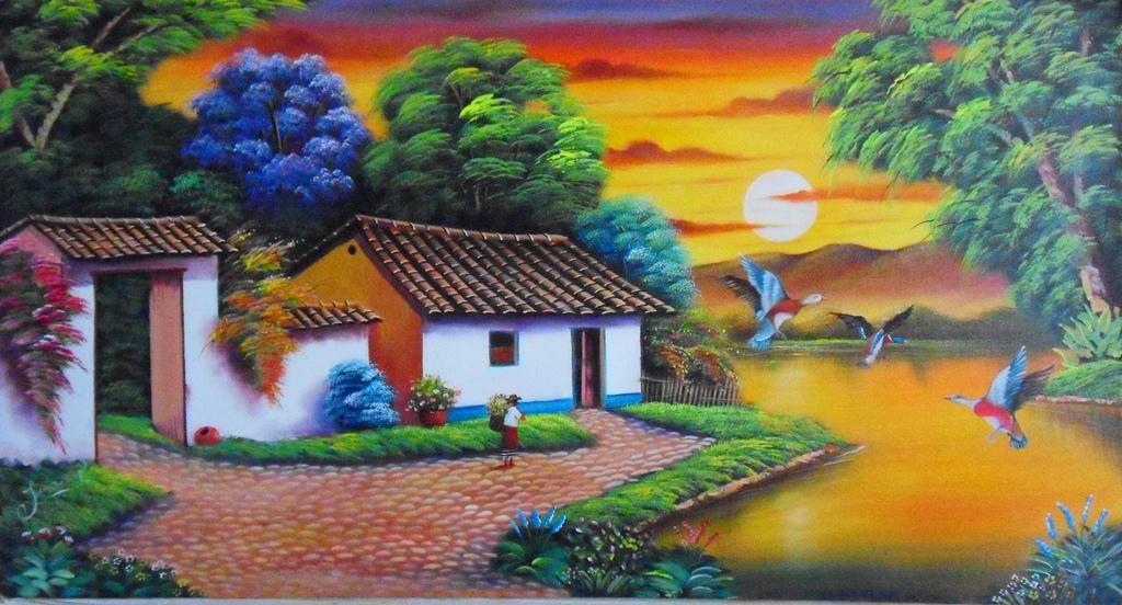 ... colombianos pintados al oleo sobre lienzo pintura paisajes colombianos
