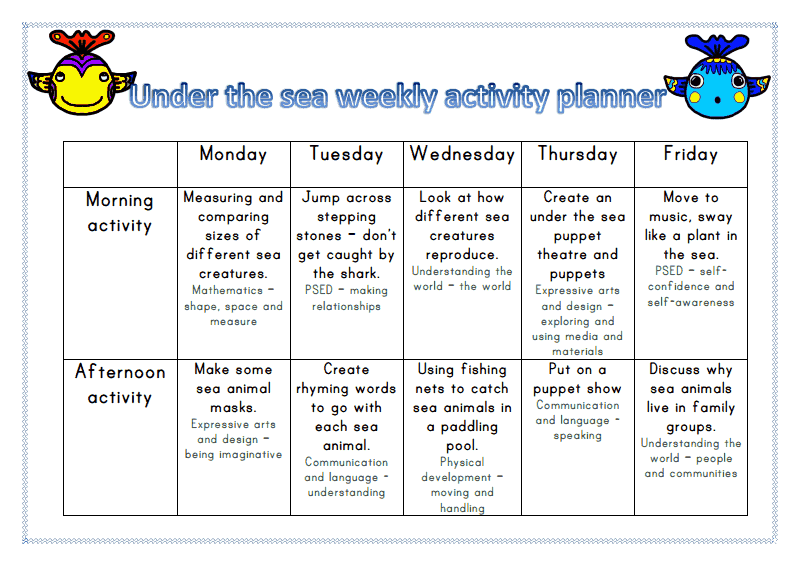 Under the sea themed activity planner - week 3 ~ Mummy G ...
