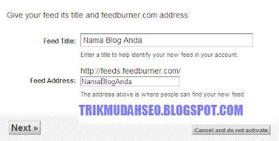 menentukan judul dan url feedburner