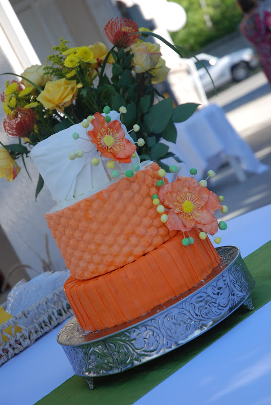 cakes by carla orange green and yellow wedding cake