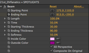 The Adobe After Effects effects settings for Spotlights.