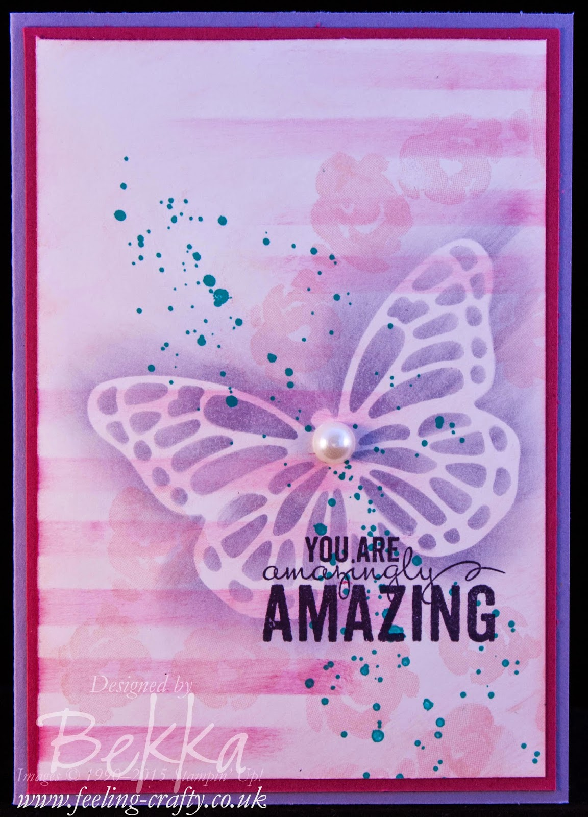 Stenciled Butterfly Painted Petals You're Amazingly Amazing Card - Check this blog for lots of great ideas