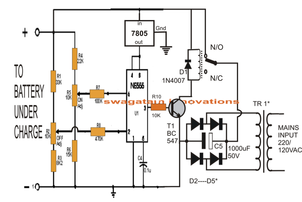 Automatic Lead Acid Battery Charger on timer relay wiring diagram