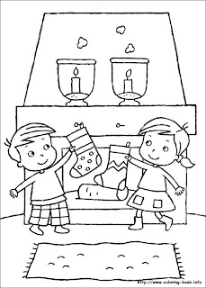 Plansa de desenat pentru copii - sosetute agatate langa semineu