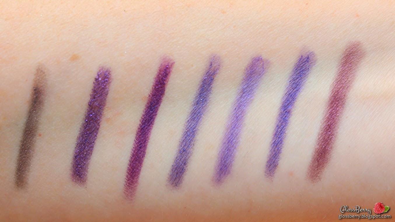 Bourjois Effet Duochrome - Gris Perle - עפרון מהסדרה הדואוכרומית של בורז'ואה. למרות שנראה כאילו הוא יהיה בגוון לילך-סגלגל, בפועל מדובר בגוון של סגול מושחר אפרפר. עם זאת יש לו שימוש אצלי בלוקים מעושנים.  Mac Pearlglide - Designer Purple - עוד עפרון חובה מבית מאק. סגול מדהים ופיגמטי עם שימר סגול בוהר. פשוט נהדר.  GA-DE Metallic - Purple Blaze 107 -עוד עפרון מהסדרה החדשה יחסית של ג'ייד,סגול חם עם נטיה קלה לבורדו, בדיוק גוון כזה חיפשתי המון זמן!    GA-DE everlasting - Intense Purple- עפרון מהסדרה הקלאסית של ג'ייד. לצערי לא מדובר בצבע אינטנסיבי אלא בסגול עדין וקלאסי, אבל גם כאן מדובר במריחה נוחה ועמידות גבוהה.  Urban Decay 24/7 Glide On EyePencil - Lust- צבע דומה מאוד לצבע של ג'ייד. עמיד ומעודן, לא סגול זועק.  את העפרונות של אורבן דיקיי ניתן לרכוש במחיר של 13 פאונד באתר HQHAIR - לא תמיד יש את כל הצבעים במלאי, כדאי להתעדכן.    Makeup Forever 11L -  סדרת העפרונות הקלאסיים של MUFE מצטיינת בקשת רחבה של גוונים, מריחה נהדרת ועמידות גבוהה. גם כאן מדובר בעפרון waterproof ששורד שעות רבות. הגוון הוא סגול קלאסי קר.   Bourjois Smoky Effet - Dark Purple-עפרון בעל פיגמנט עדין יחסית וגוון הנוטה יותר לבורדו. גם כאן ניתן לטשטוש באמצעות המברשת המצורפת