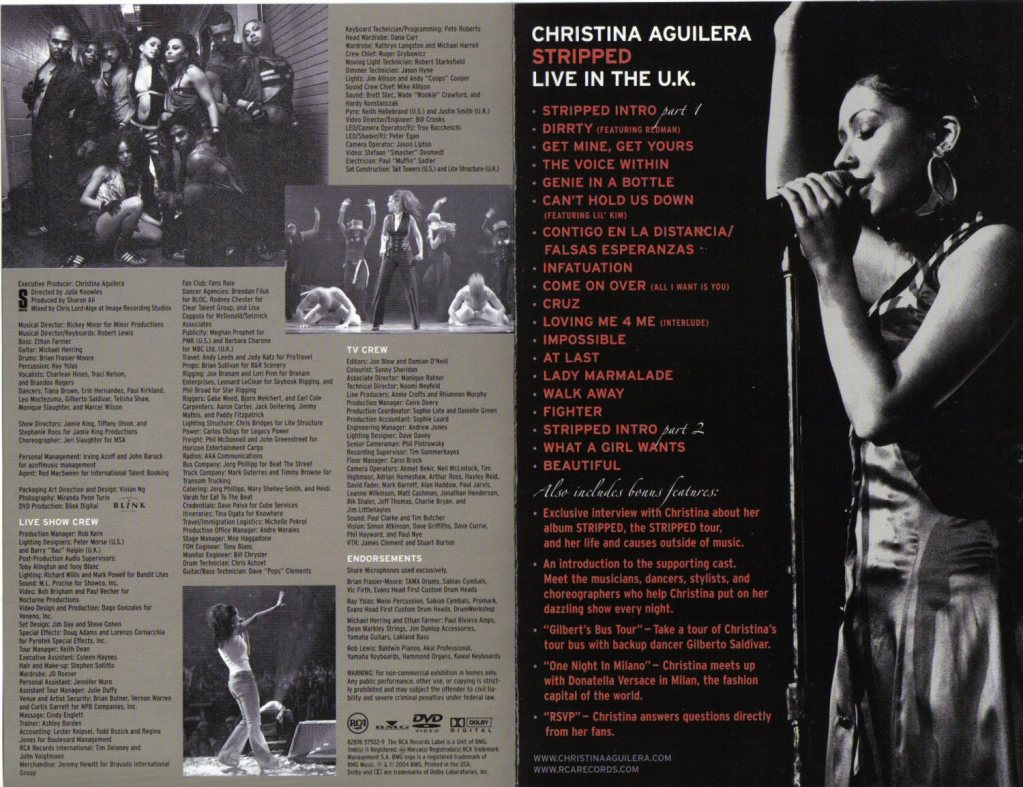 christina aguilera stripped live in the uk song list