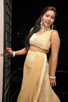 Mithra Looks cute and spicy in lovely Golden Choli at Dollarki Maro Vaipu audio Launch