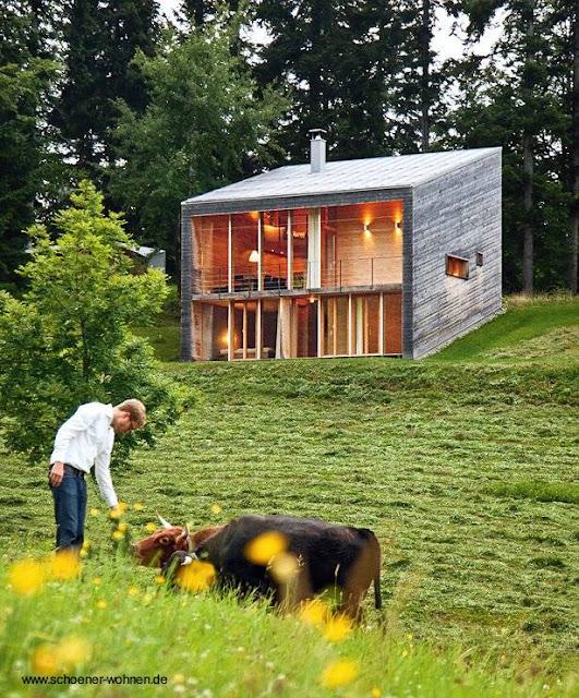 Cabaña moderna en lote con declive