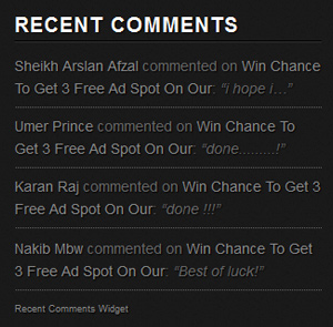 recent comment widget for blogger