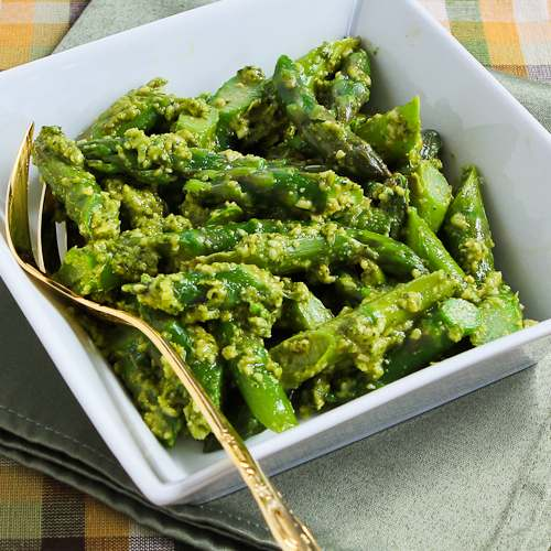 Barely Cooked Asparagus with Basil Pesto
