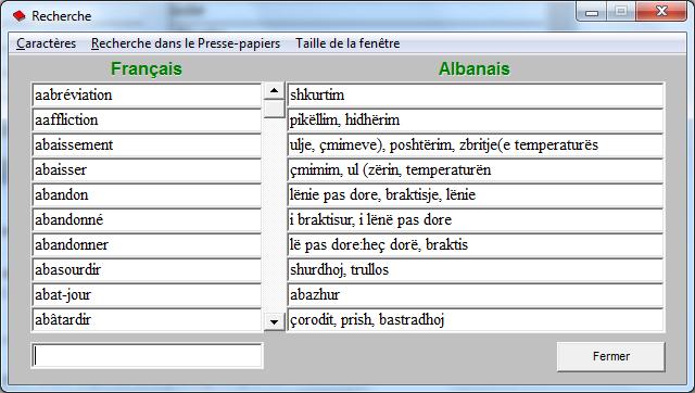 Fjalor frengjisht shqip