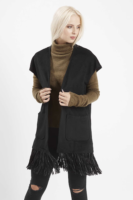 black gilet fringed