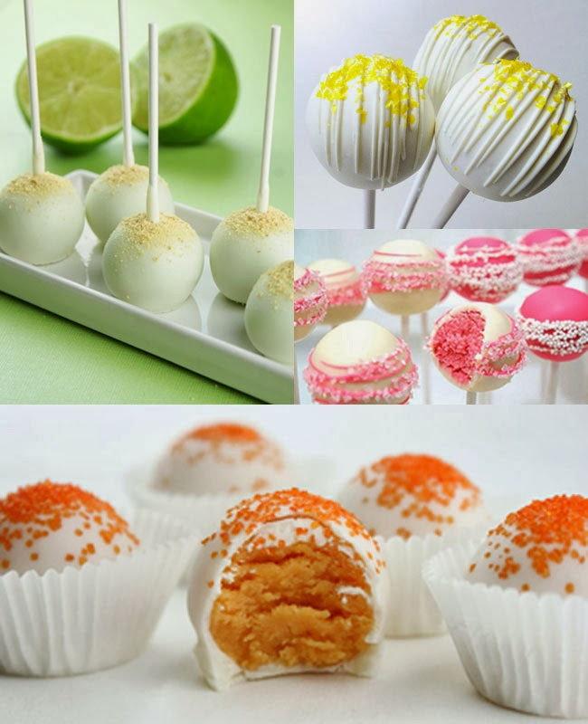 Lime, lemon, pink grapefruit cake pops, orange pralines