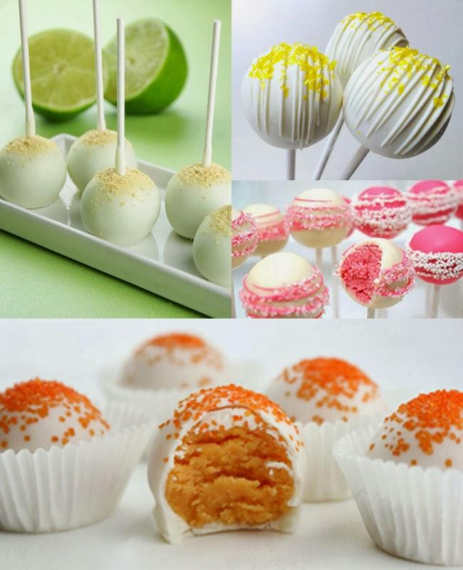 Lime, lemon, pink grapefruit cake pops, orange pralines