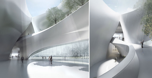 Renderings of interiors inside of new modern museum