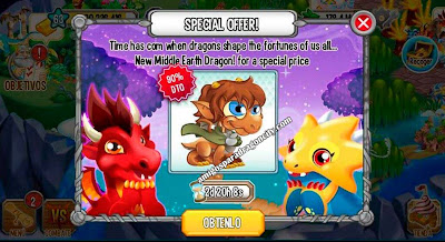 imagen de la oferta especial del dragon tierra media de dragon city android