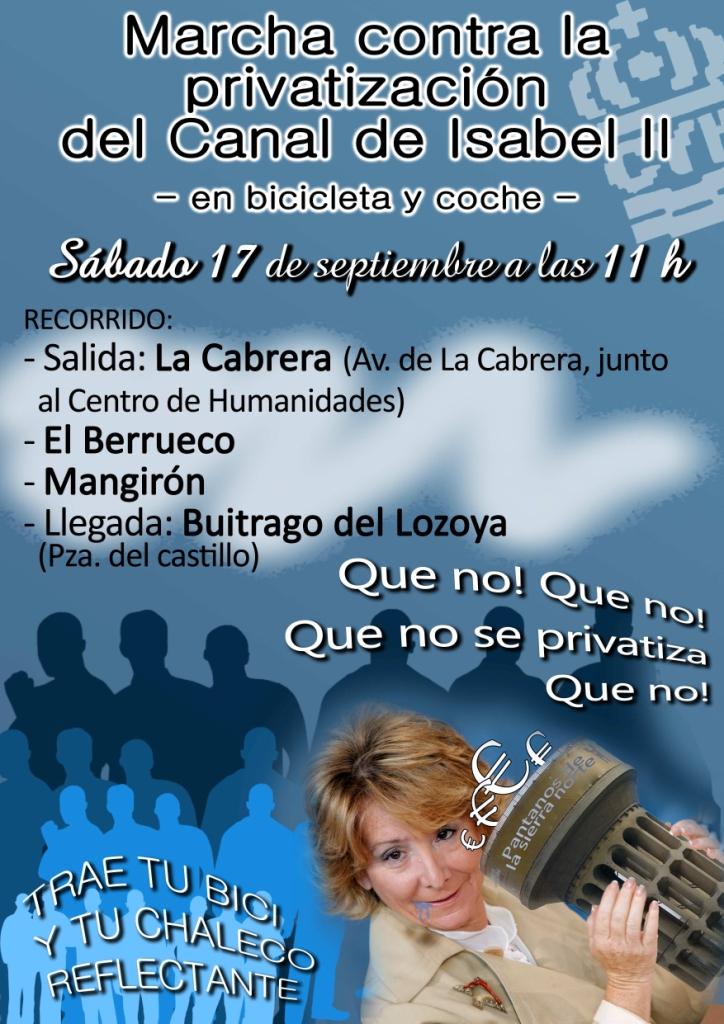 Marcha contra privatización del Canal de Isabel II La Cabrera-El Berrueco-Mangirón-Buitrago