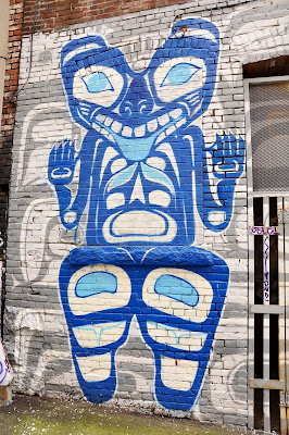 Blue Inuit Graffiti Mural in Vancouver, Canada