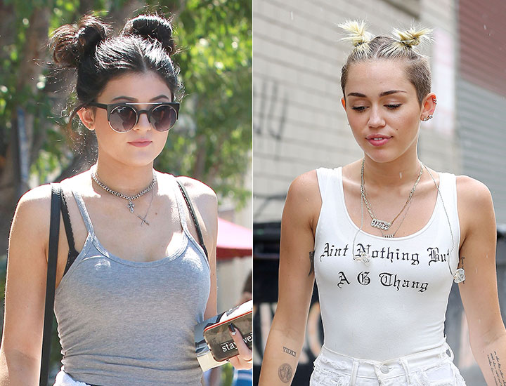 Miley Cyrus Two Buns Hairstyles