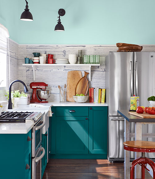 Pale aqua kitchen cabinets for Teal kitchen cabinets