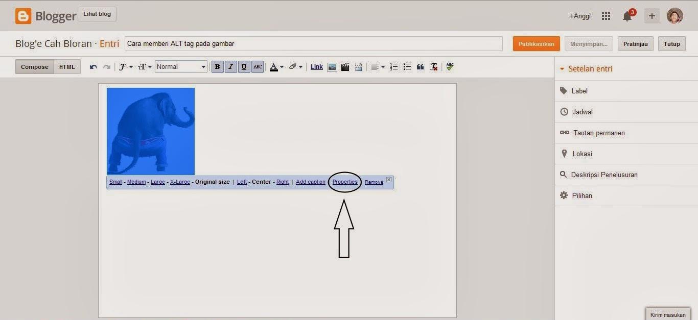 klik properties untuk memberi alt tag pada gambar