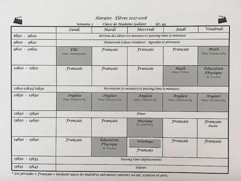 Horaire 2017-2018 (groupe 44)