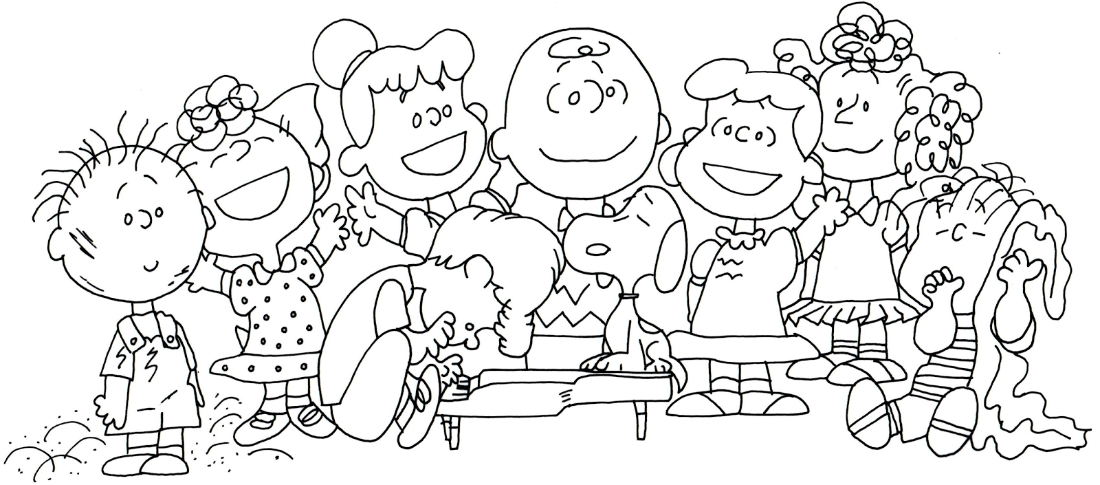 Free Printable Coloring Page For The Whole Gang Of Peanuts Pigpen Sally Schroeder Snoopy Violet Gray Charlie Brown Lucy And Linus