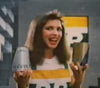 Propaganda da Lubrax com a cantora Tetê Espíndola, em 1984.