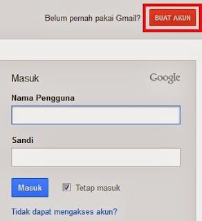klik pada tombol buat akun untuk memulai membuat email
