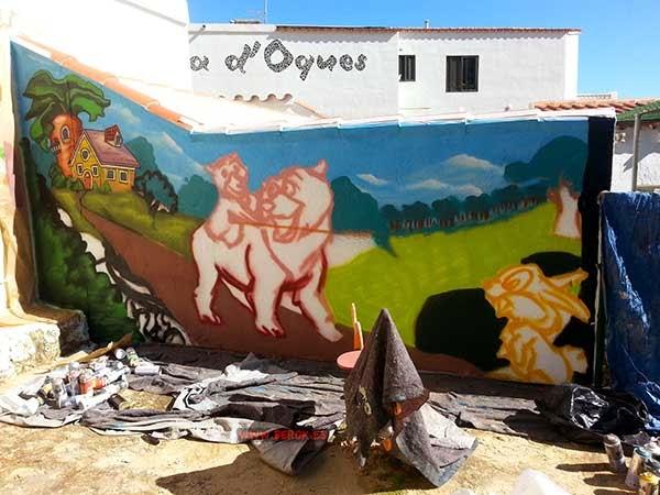 Mural infantil en proceso