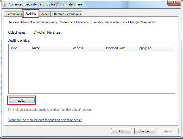Steps to Enable File Access Auditing Event IDs