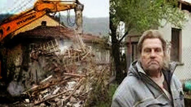 A man in debt demolishes his house and drops it in front of the bank