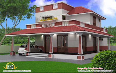 Traditional blend modern house elevation 3D render other side view - 186 Sq M (2000 Sq. Ft) - February 2012
