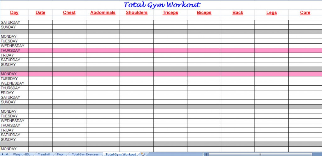 Gym Workout Plan New Calendar Template Site