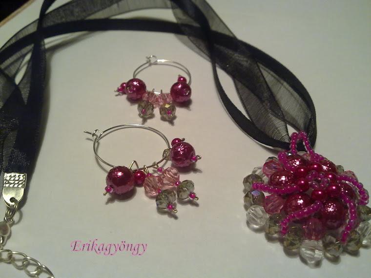 Pink-füst-rózsaszín fekete organzán