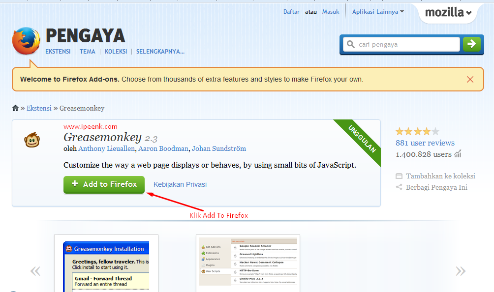 Download Add Ons Firefox - Bom Like Di Facebook