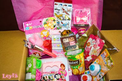 a box filled with cute items from a Japanese 100 yen shop