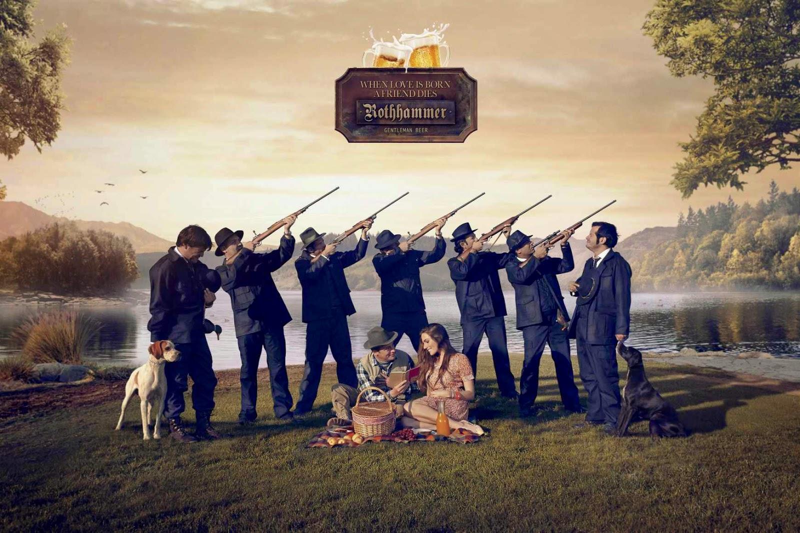 Série de propagandas da cerveja chilena Rothammer. Eles associaram o início de um namoro com a perda de um amigo. - Peça: Caçadores