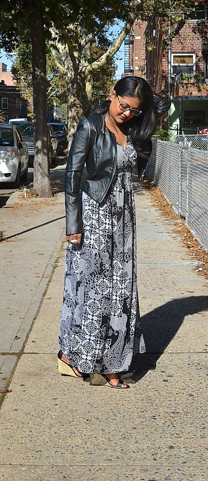 justfab shoes bebe leather jacket maxi dress