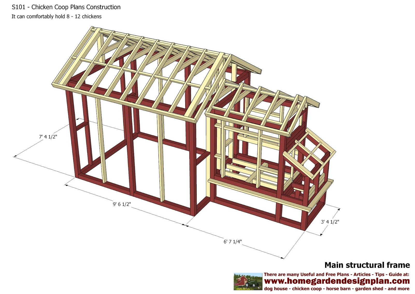 Home garden plans s101 chicken coop plans construction for Poultry house plans for 100 chickens