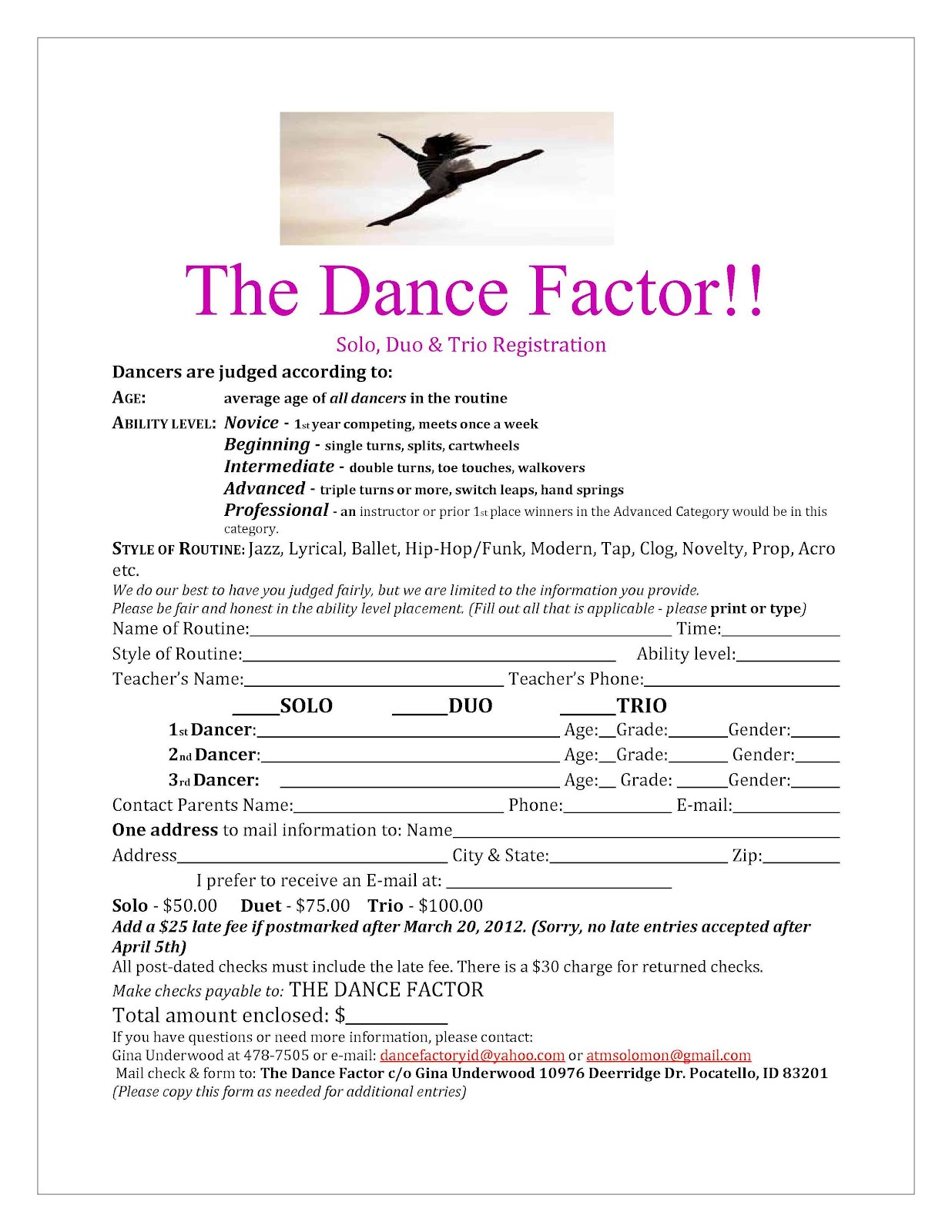 Eagle rock dance dance factor solo registration form for Dance school registration form template free