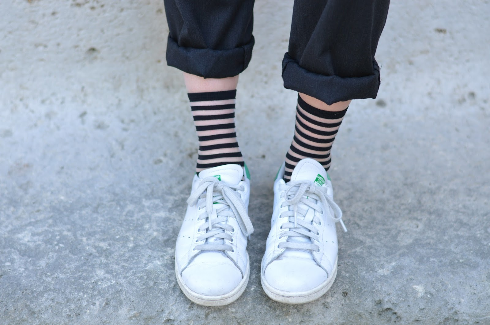 Adidas Stan Smiths and Cos stripy socks