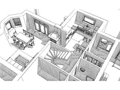 Architekt Rzeszów. Dom jednorodzinny, wizualizacja parteru, kuchnia, jadalnia, schody, gabinet, garaż.
