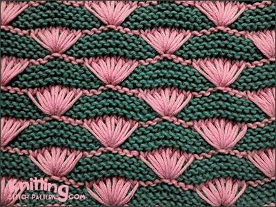 Knitting Stitch Shell : Shells on Garter-stitch Background Knitting Stitch Patterns
