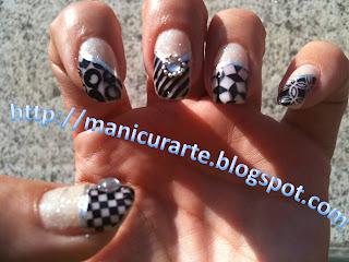 Manicura francesa blanco y negro
