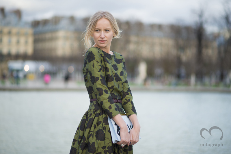 Glamour Russia Fashion Director Katya Klimova at Paris Fashion Week PFW