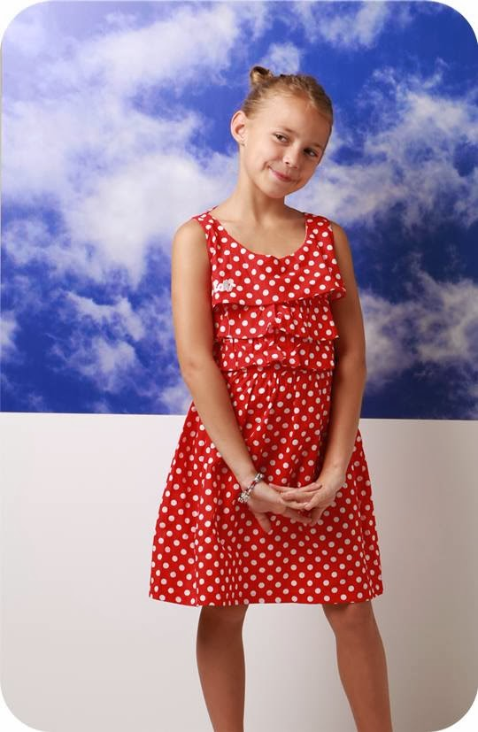 Dress anak ruffled polkadot katun