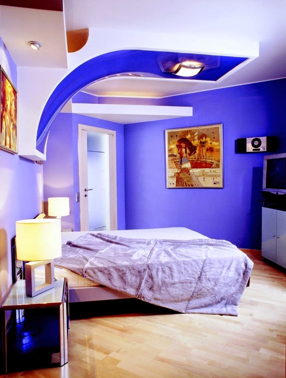 Interior home painting ideas for minimalis bedroom blue concept ...
