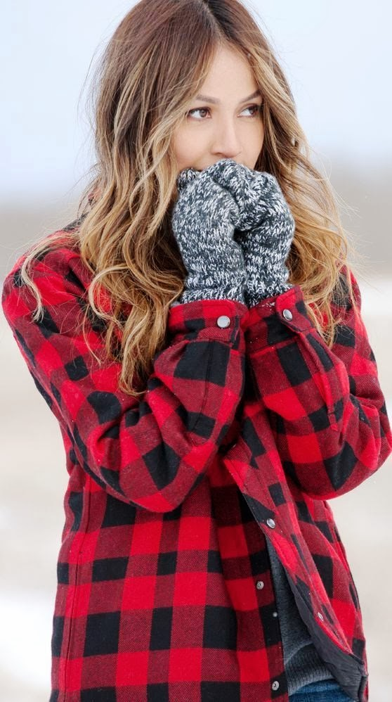 Adorable red flannel warm sleeve shirt for fall