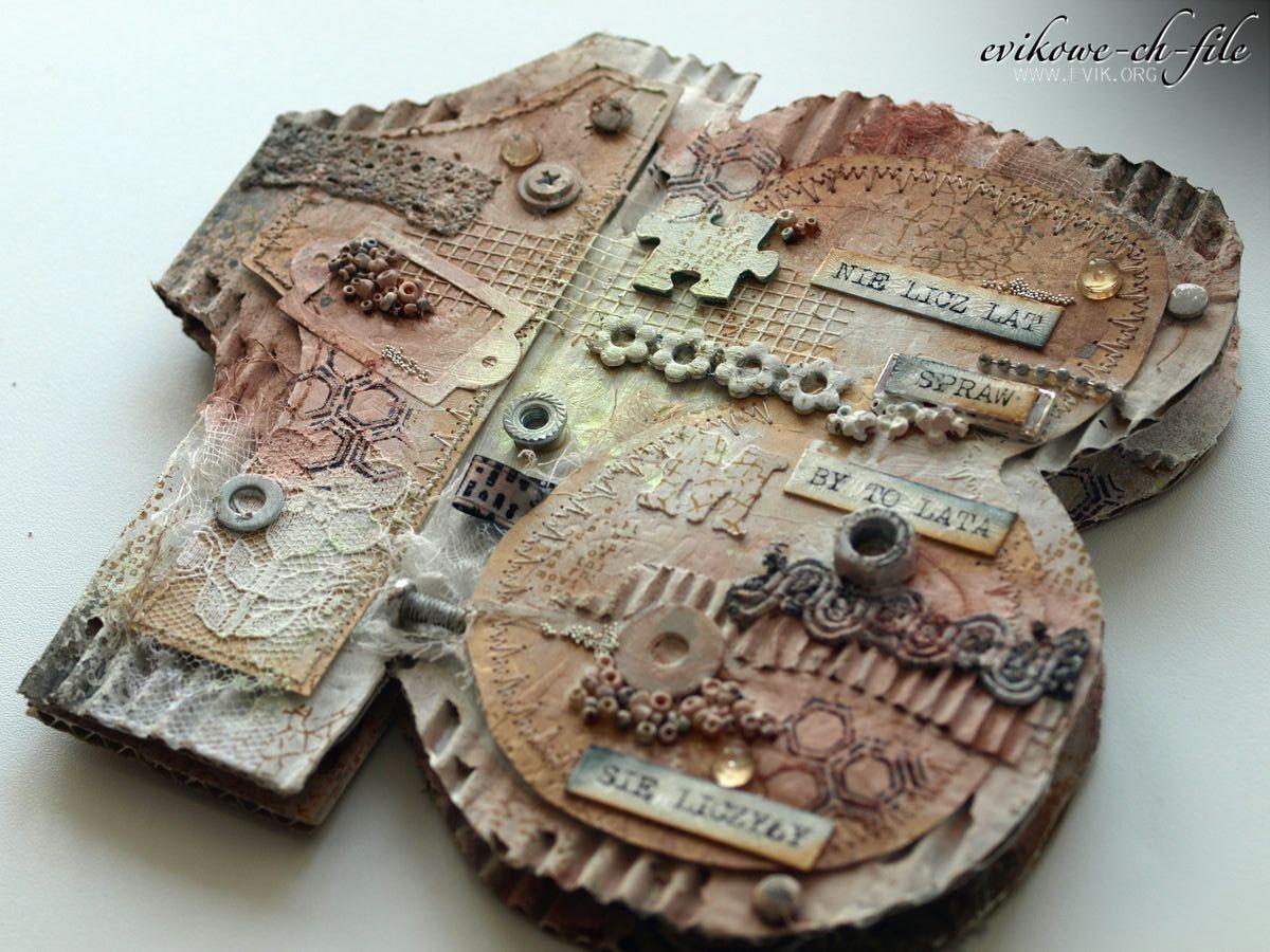 nietypowy kształt kartki, handmade 18 bday, osiemnastka, ręcznie robiona kartka na 18 urodziny, Evikowe ch-file, Evik, Ewa Jarlińska, handmade card, nie licz lat, kartka z tektury falistej